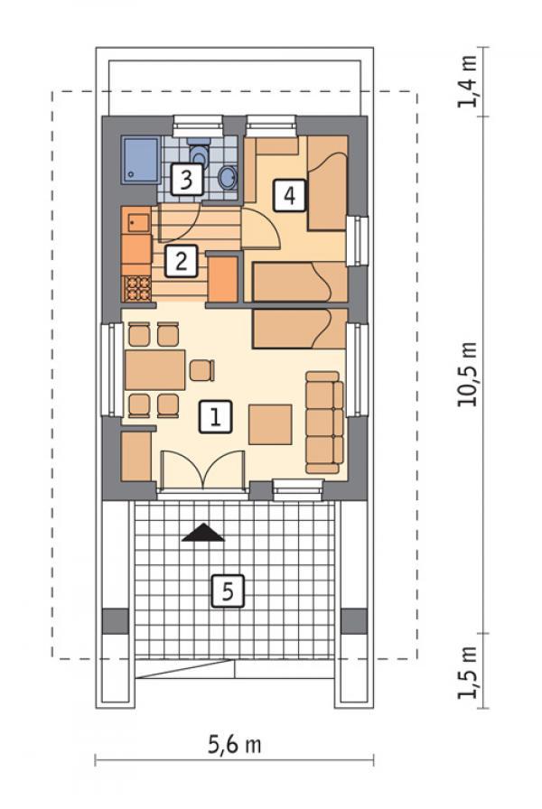 проект небольшого узкого дома сообщает: